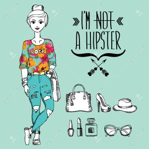 Hipster girl. Fashion geek character. Vector illustration.